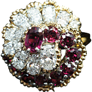 Vintage Tiffany Diamond & Ruby Swirl Dinner Cocktail Ring in 18k Yellow Gold Platinum Head