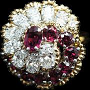 Vintage Tiffany Diamond & Ruby Swirl Dinner Cocktail Ring in 18k Yellow Gold Platinum Head