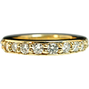14k Yellow Gold .75ctw Diamond Twelve Stone Anniversary Band Wedding Ring -Size 5.5