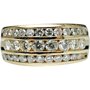 Vintage Three Row 1.03ctw Diamond Wedding Band 14k Yellow Gold
