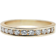 0.44 CTW Diamond Anniversary Band 14K Yellow Gold Vintage Estate Wedding Band Ring