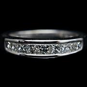 Vintage .69CT Natural Diamond Wedding Band 14k White Gold
