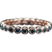Vintage .44CTW Blue Diamond Eternity Wedding Band in 14k Rose Gold