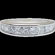Vintage 1.26CTW Princess Cut Diamond Anniversary Band 14k White Gold Wedding Ring