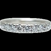 Vintage 1.08CTW Diamond Wedding Band Anniversary Ring in 14k White Gold