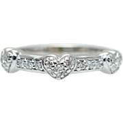 Vintage .19CTW Diamond Special Heart Anniversary Band Wedding Ring