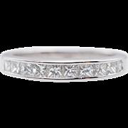 Vintage .56CTW Natural Diamond Wedding Band 14k White Gold