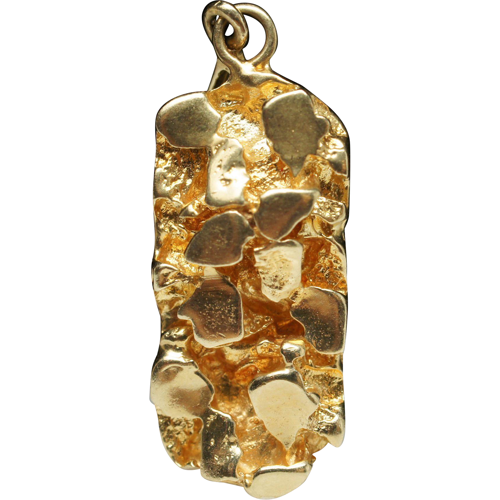 Estate yellow gold nugget pendant 14k gold sold ruby lane mozeypictures Image collections