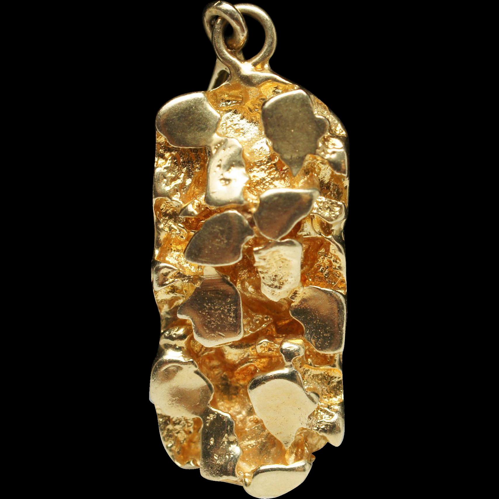 Estate yellow gold nugget pendant 14k gold sold ruby lane aloadofball Images