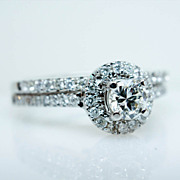 .26ct F SI1 Round Diamond Simple Solitaire Engagement Ring & Band Set - 14k White Gold - Size 6