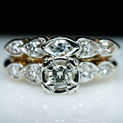 Vintage Illusion Style 14k Yellow Gold Diamond Engagement Wedding Band Ring Set - Size 6
