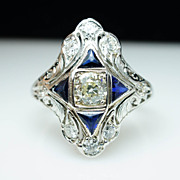 Edwardian 14k White Gold Old European Cut Diamond & Sapphire Ring - Size 7
