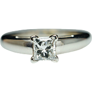 Vintage Solitaire Princess Cut Diamond Engagement Ring 14k White Gold