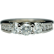 Vintage 3 Stone Diamond Engagement Ring 14k White Gold