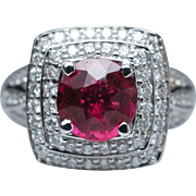 2.52ctw Double Diamond Halo Ruby Engagement Ring in 14k White Gold