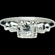 Vintage Petite Diamond Engagement Ring 18k White Gold