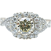 Champagne Diamond Halo Engagement Ring 14k White Gold