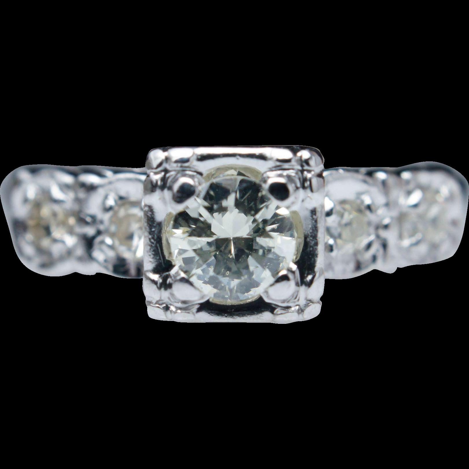 Art Deco Illusion Set Diamond Engagement Ring 14k White Gold