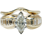 Vintage 1.17CTW Marquise Cut Diamond Engagement Ring & Matching Band 14k Yellow Gold