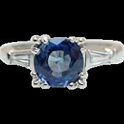 Vintage Art Deco Platinum Sapphire Engagement Ring with Baguette Cut Diamond Accents