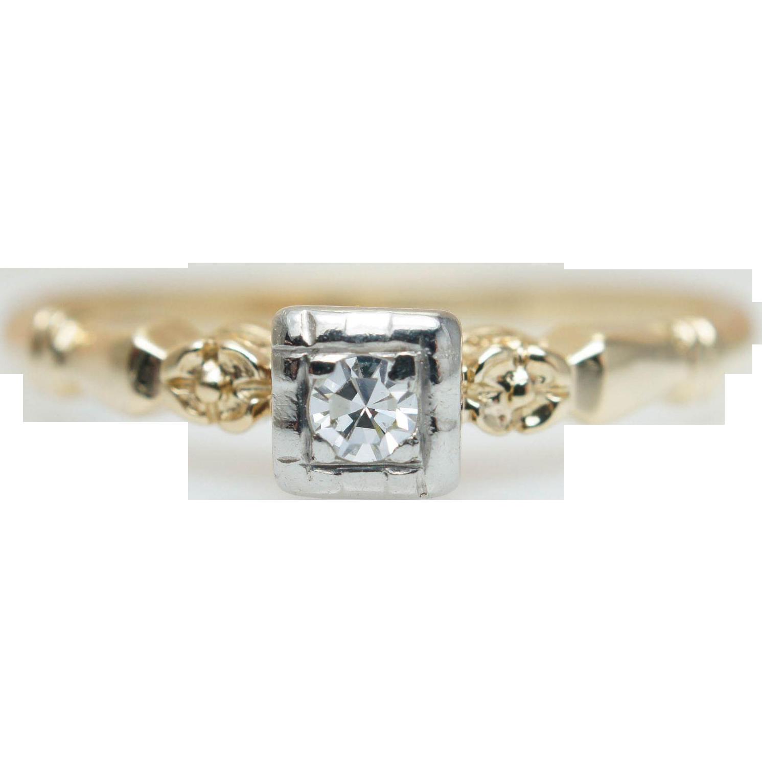 Vintage Single Cut Diamond Engagement Ring 14k Yellow Gold Wedding Band Ring