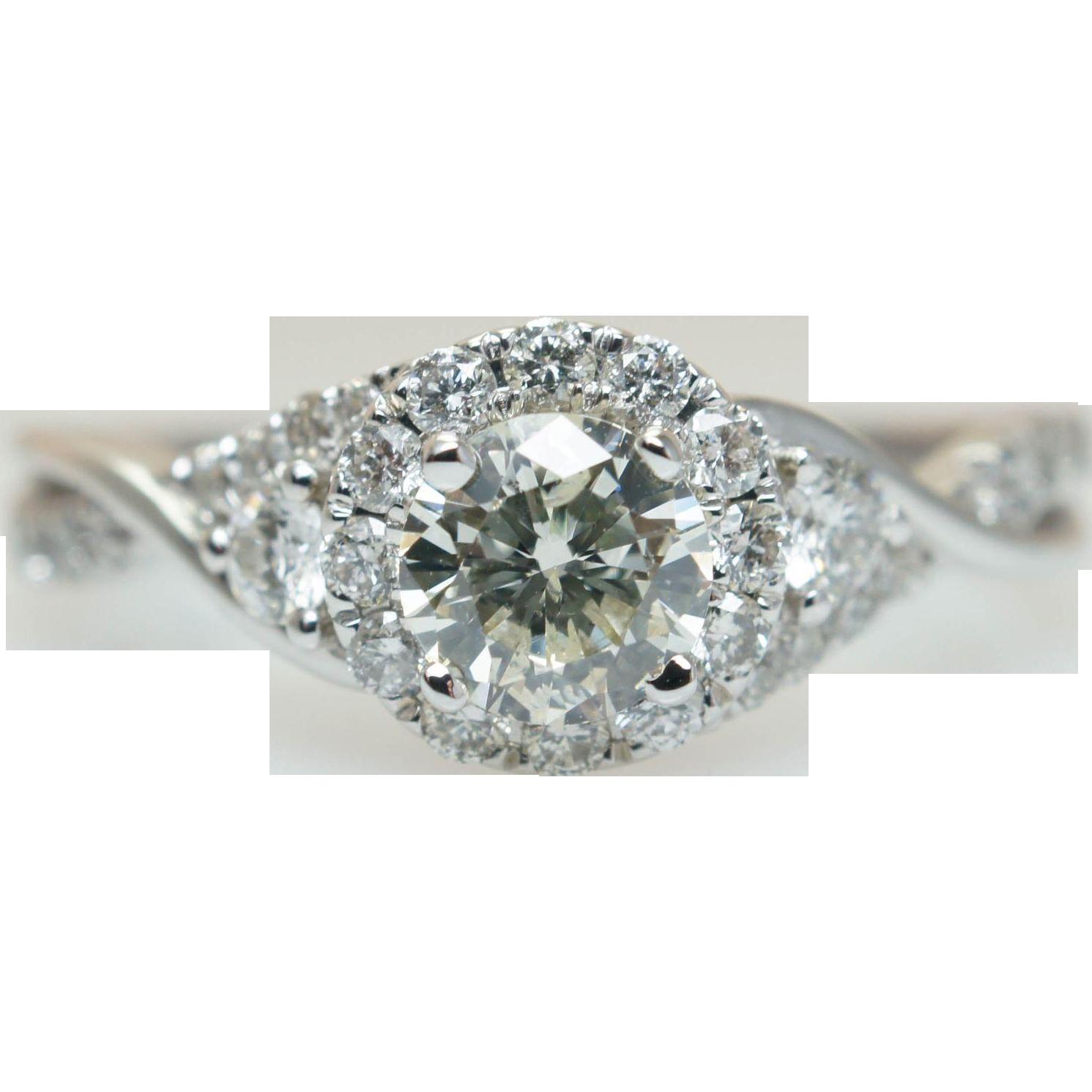Diamond Swirl 3 Stone Diamond Engagement Ring In 14k White Gold