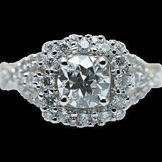 Stunning Diamond Halo 3 Stone Style Engagement Ring 14k White Gold