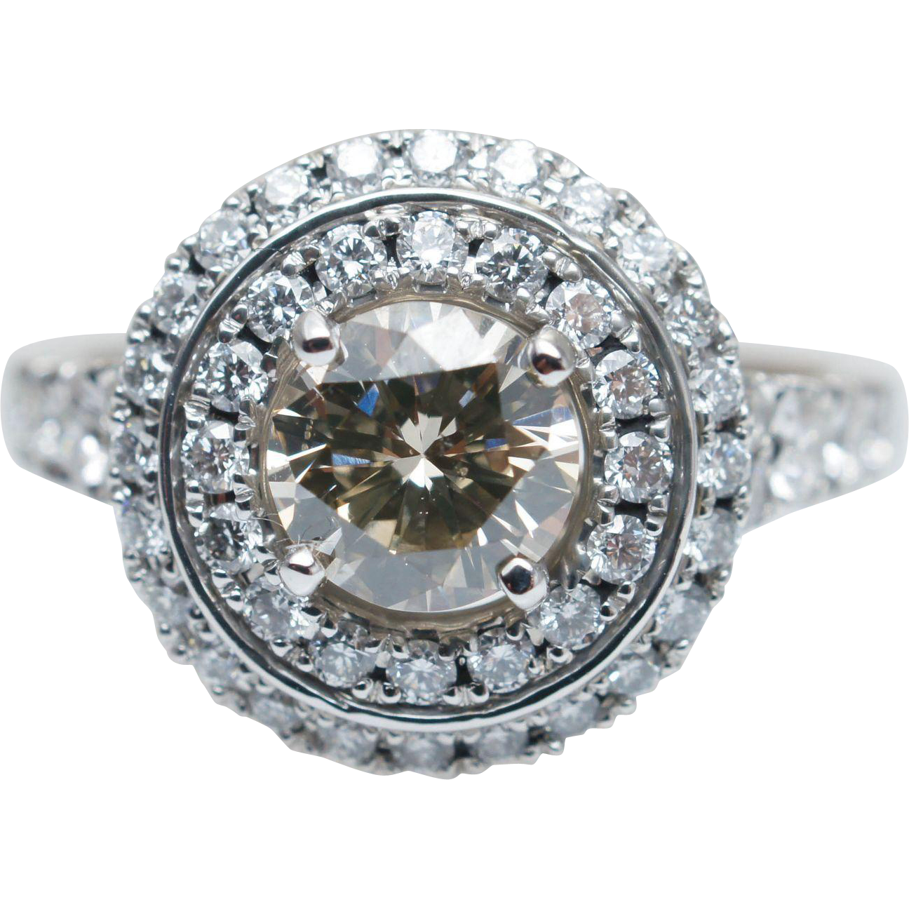 Champagne Diamond Double Halo Engagement Ring 14k White Gold