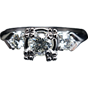 Vintage Art Deco .56CT Diamond Engagement Ring 14k White Gold Wedding Ring Jewelry