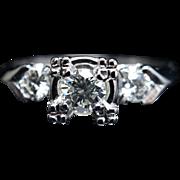 Vintage Art Deco .56CT Diamond Engagement Ring 14k White Gold Wedding Ring Jewelry