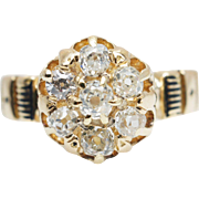 Vintage .67CTW Natural Diamond Cluster Engagement Ring 14k & 18k Yellow Gold
