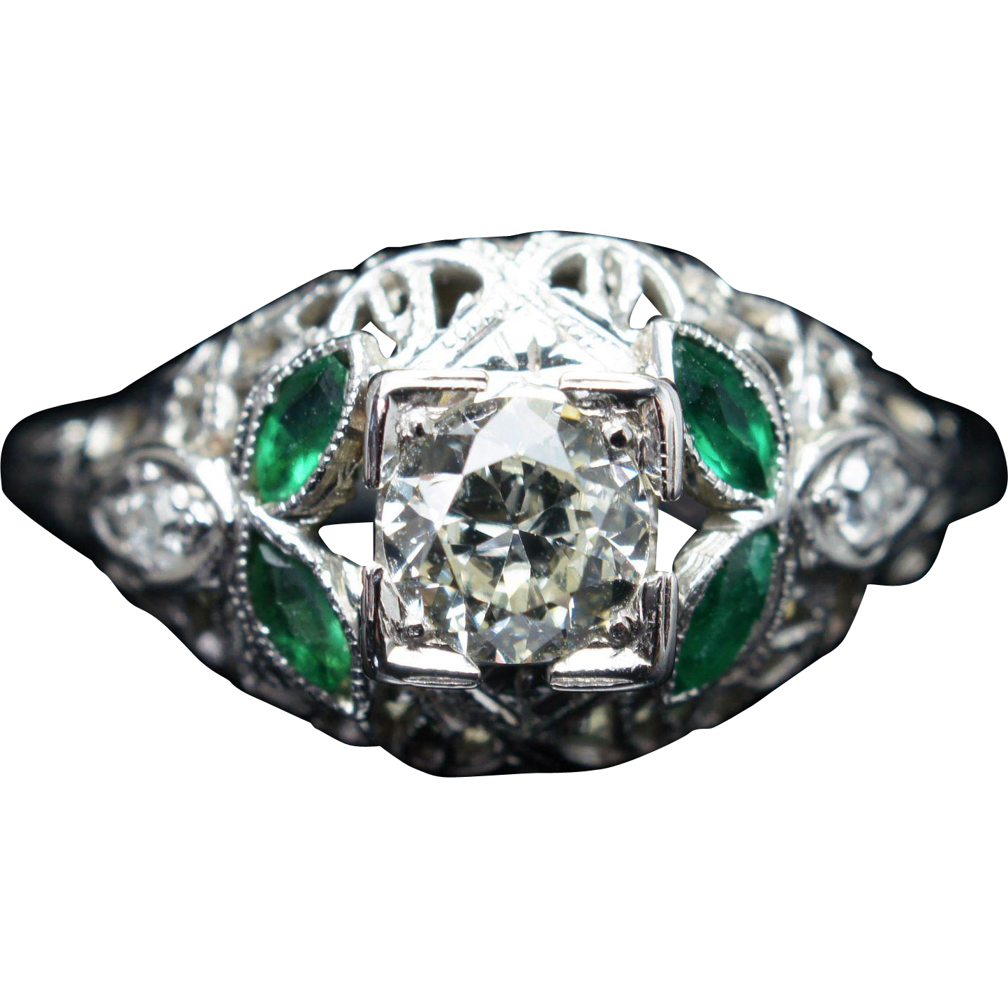 Antique Late Edwardian Diamond & Green Glass Engagement Ring 18k White Gold Jewelry