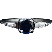 Vintage .78CTW Sapphire & Diamond Platinum Engagement Ring