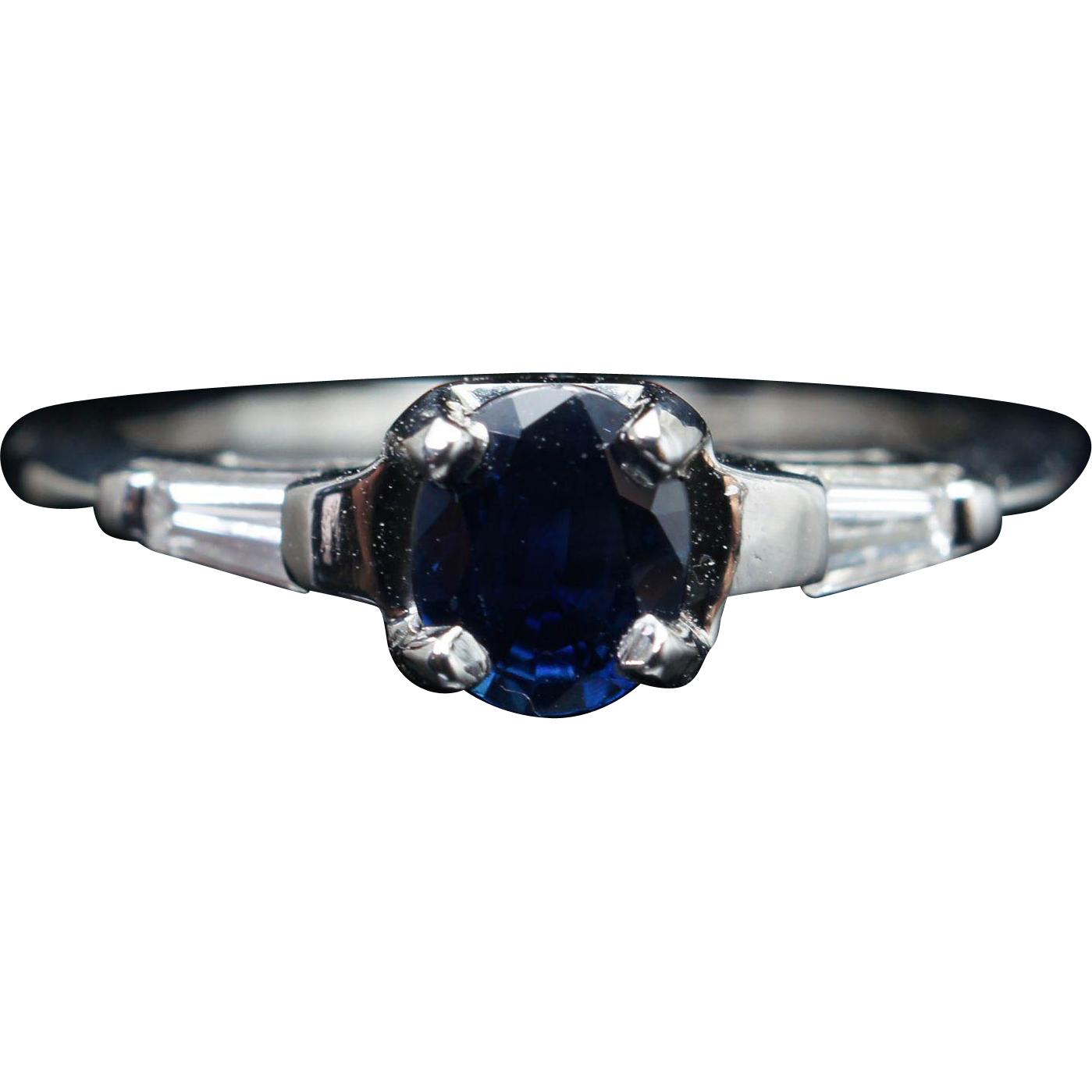 Vintage .78CTW Sapphire & Diamond Platinum Engagement Ring