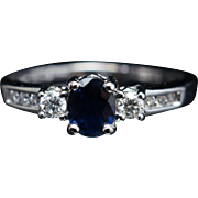 Vintage Oval Sapphire & Diamond 3 Stone Engagement Ring 14k White Gold Jewelry