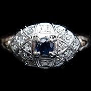 Vintage Art Deco Blue Topaz & Diamond Cocktail Engagement Ring 14k Yellow Gold