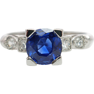 Platinum 1.42CTW Cushion Cut Natural Sapphire Solitaire Engagement Ring Solitaire Ring
