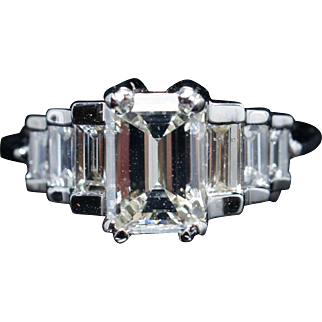 Vintage 1.77CTW Natural Emerald Cut Diamond Step Engagement Ring in Platinum & 14k White Gold