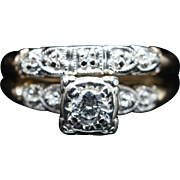 Vintage Art Deco 0.216CT Diamond Engagement Ring & Wedding Band Bridal Set 14k Yellow Gold Jewelry