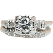 Vintage Retro .63CT Natural Diamond Engagement Ring & Wedding Band Bridal Set in 14k White Gold