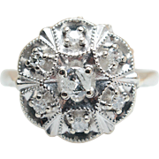 Vintage Art Deco .25CT Natural Diamond Cluster Ring  14k White Gold Cocktail Ring