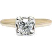 Vintage Art Deco .26CT Diamond Engagement Ring in 14k Yellow & White Gold