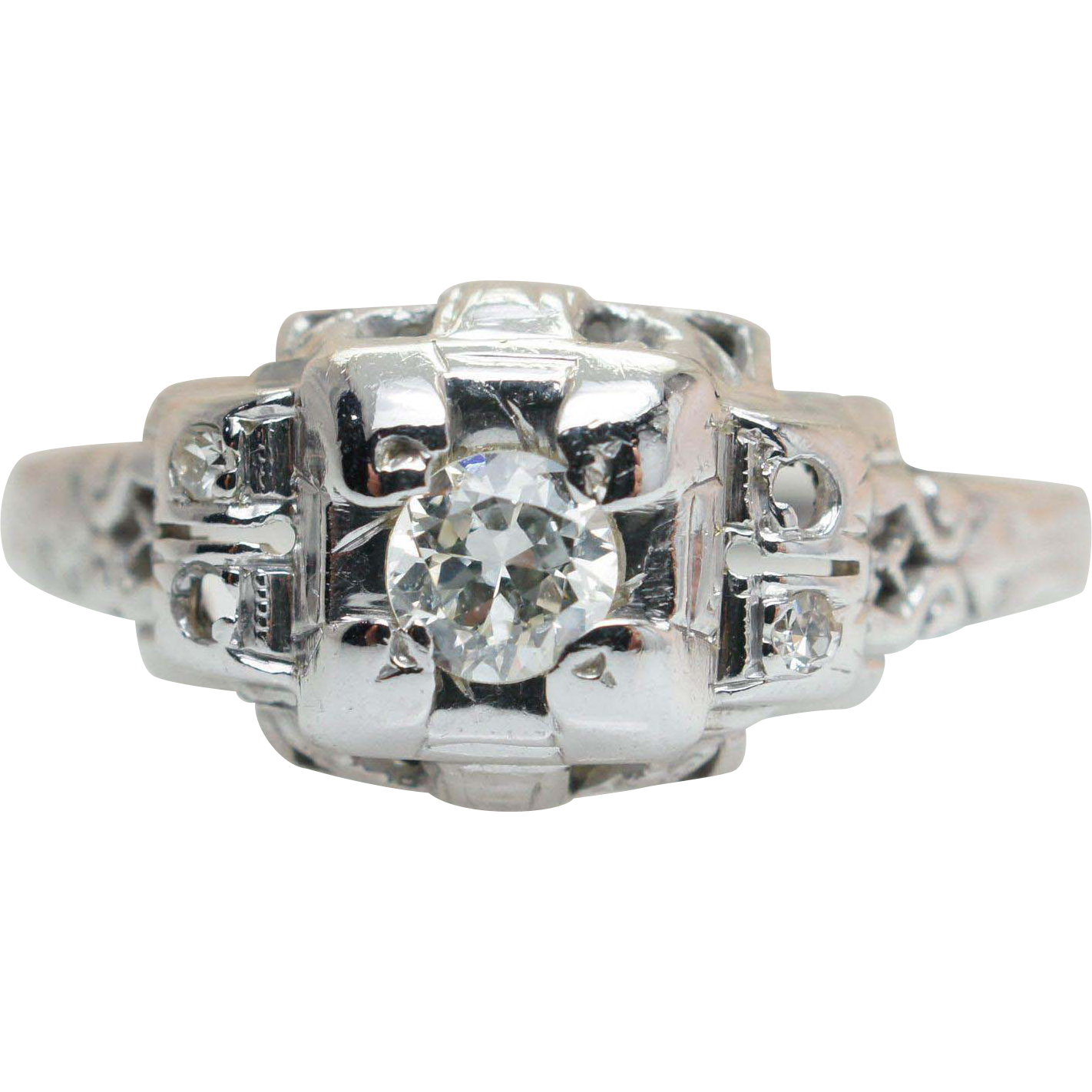 Vintage Art Deco .18CT Diamond Engagement Ring 18k White Gold Old European Cut