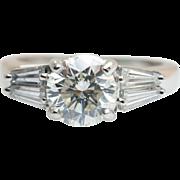 """Vintage """"Jeff Cooper"""" Designer Platinum 1.66CTW Diamond Engagement Ring w/ GIA Certificate"""