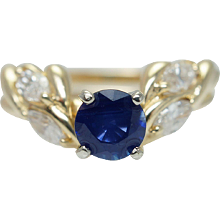 Vintage .89CTW Natural Sapphire & Diamond Flower Leaf Style Engagement Ring 14k Yellow Gold