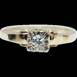 Vintage Retro 1940's Diamond Engagement Ring 14k Yellow Gold