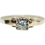 Vintage Retro 1940's Diamond Engagement Ring 14k Yellow Gold