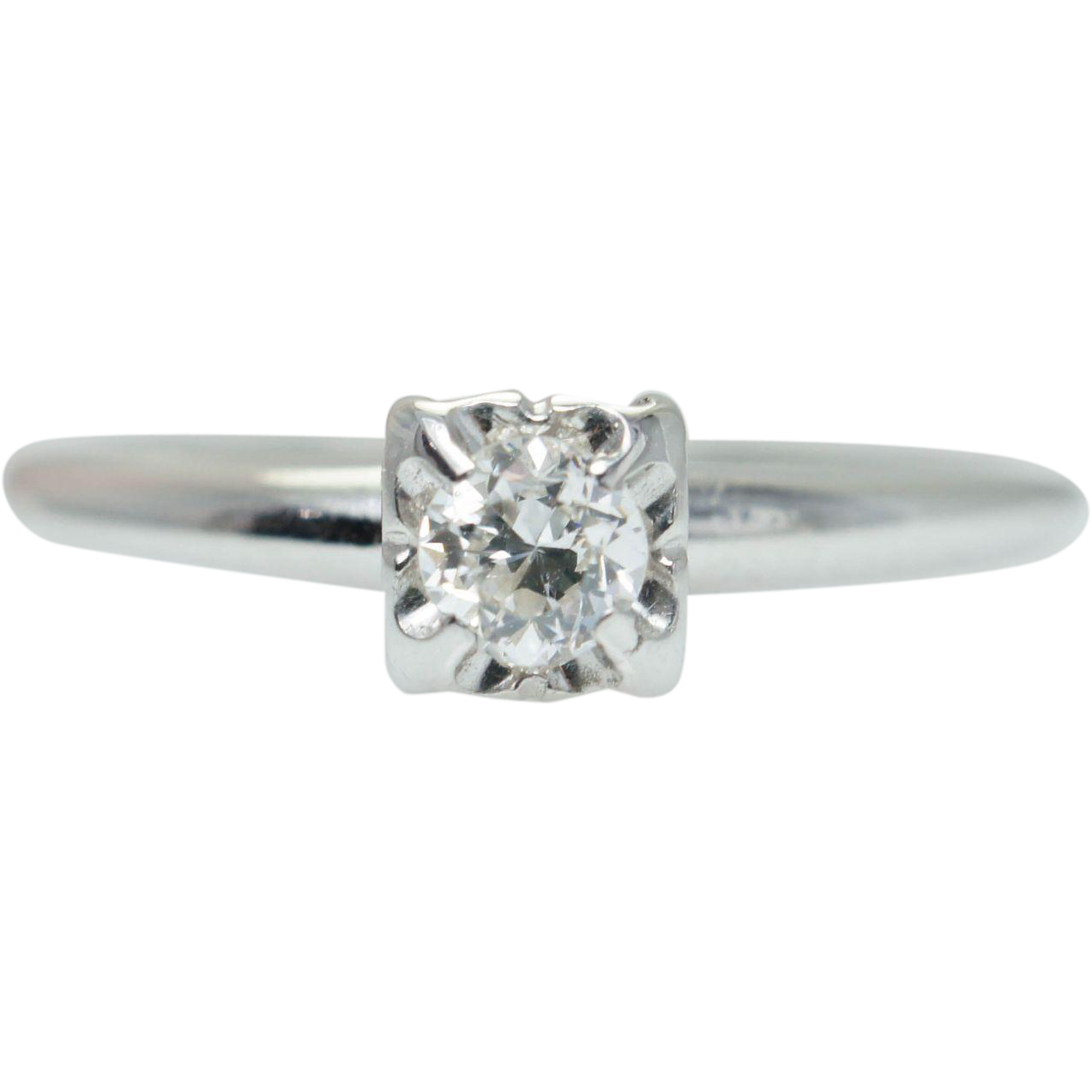 Vintage Natural Diamond Solitaire Illusion Setting Engagement Ring 14k White Gold