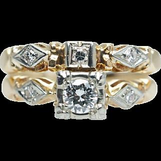 Vintage 1930s Art Deco Diamond Bridal Set Engagement Ring & Wedding Band