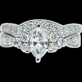 Vintage .99CTW Marquise Cut Diamond Engagement Ring & Wedding Band Bridal Set